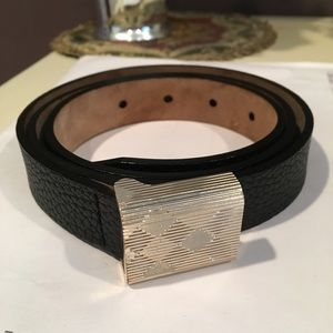 Burberry Black Grain Leather Belt